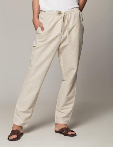 Lniane męskie spodnie beż