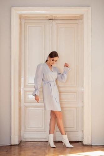 Sukienka lniana Liryczna niebieska